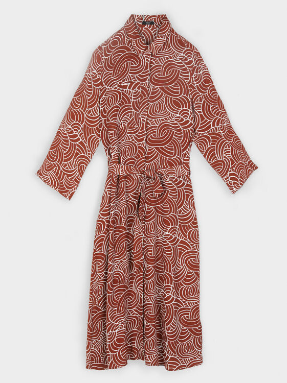 Printed Shirt Dress, Brick Red, hi-res
