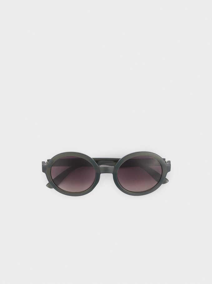 Gafas De Sol Montura Redonda, Verde, hi-res