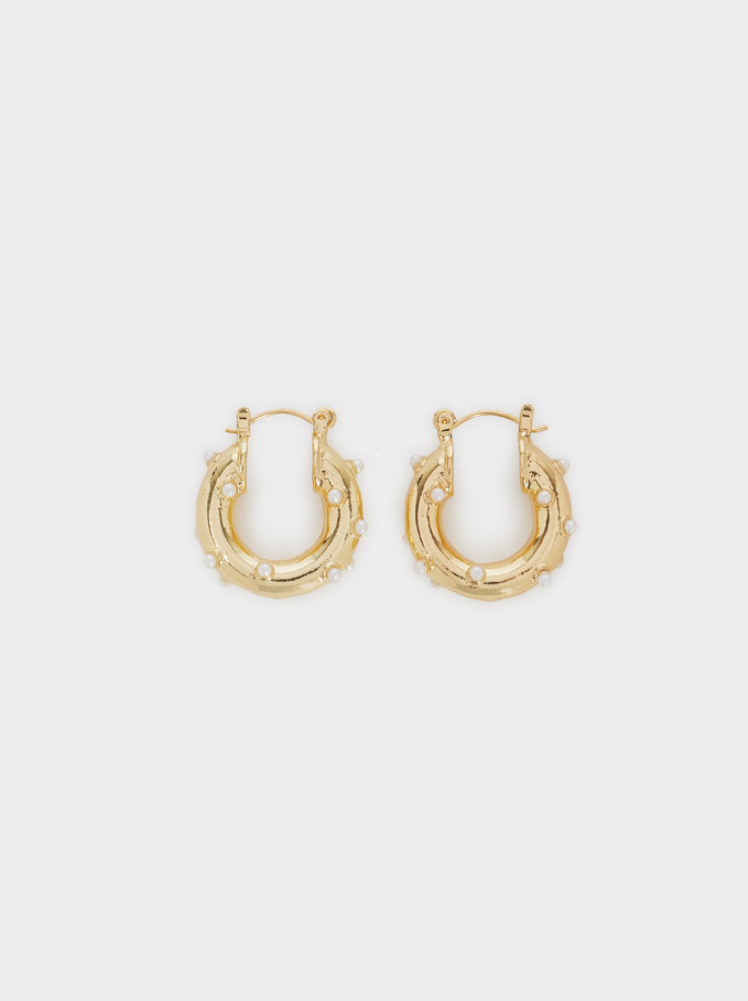 Small Faux Pearl Hoop Earrings, Golden, hi-res