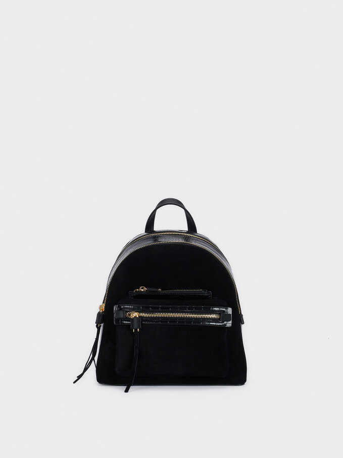 Suede Backpack With Outer Pocket, Black, hi-res
