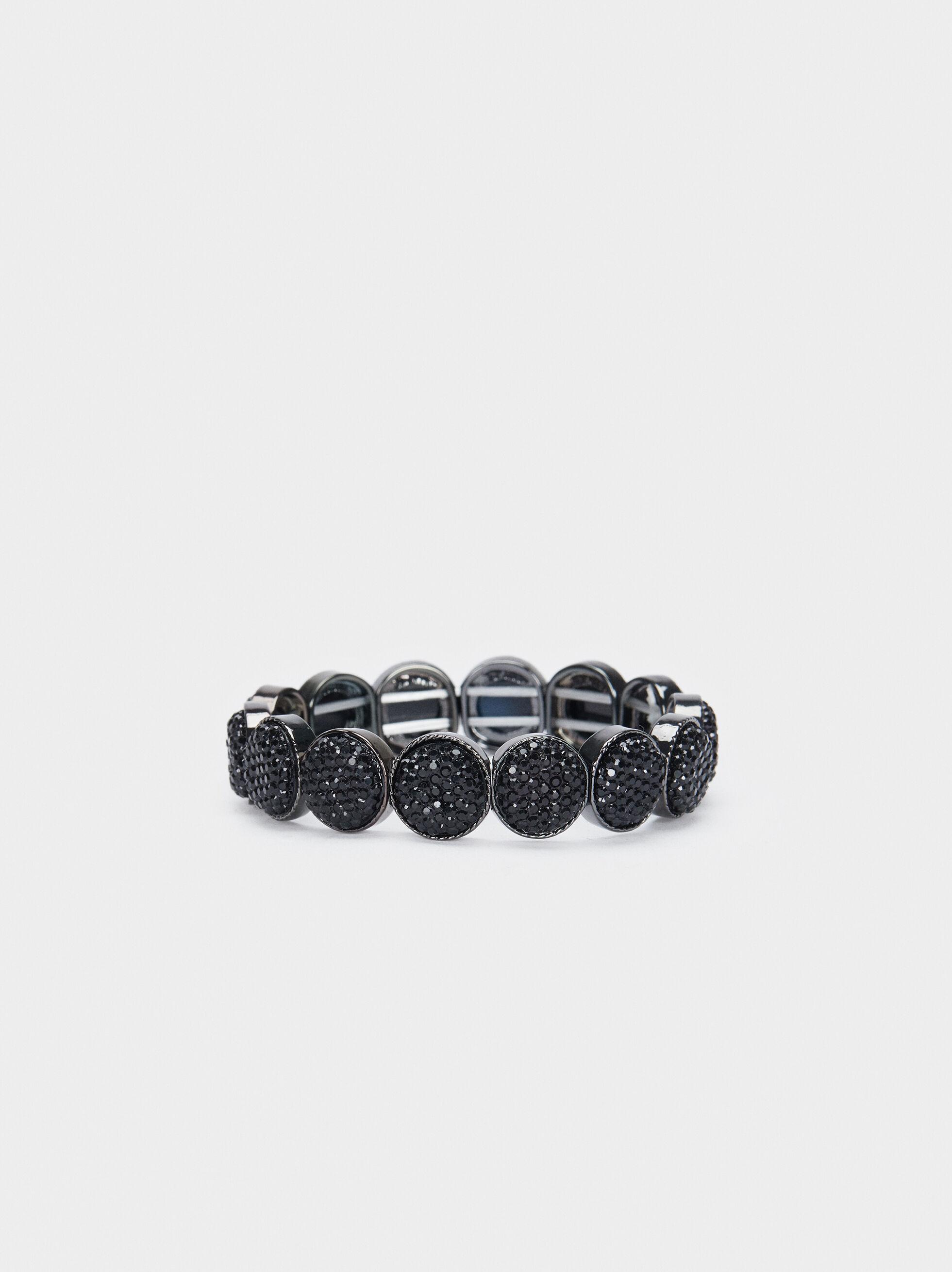 Metal Elastic Bracelet, Black, hi-res