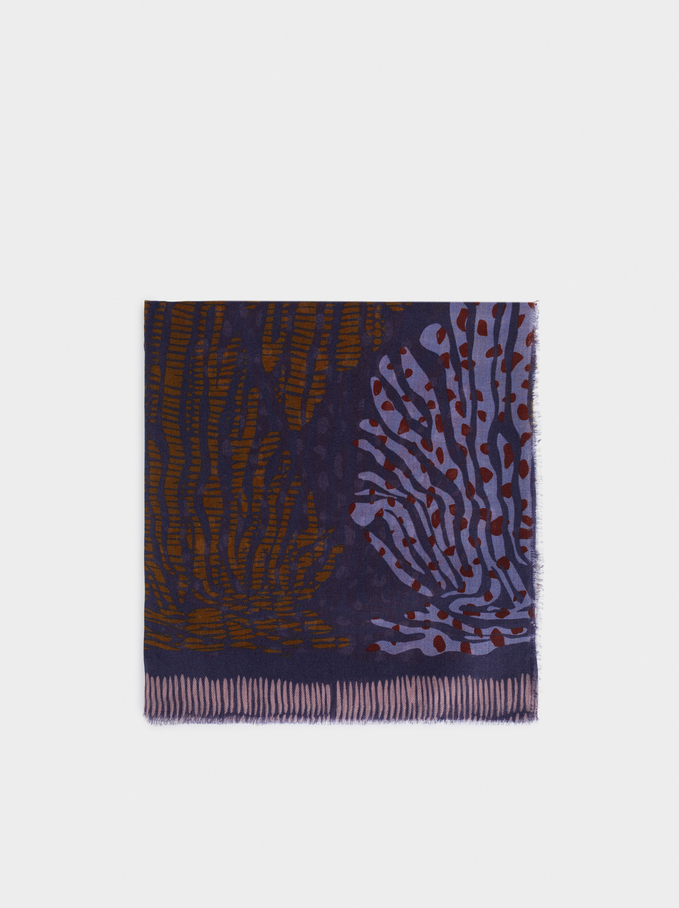 Foulard Imprimé Multicolore, Bleu, hi-res