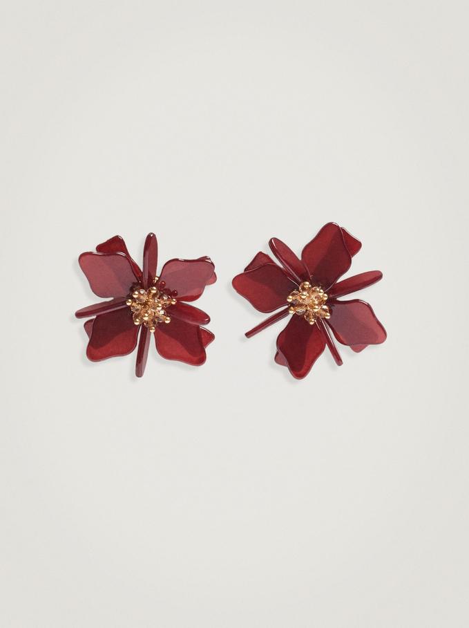 Long Flower Earrings, Bordeaux, hi-res