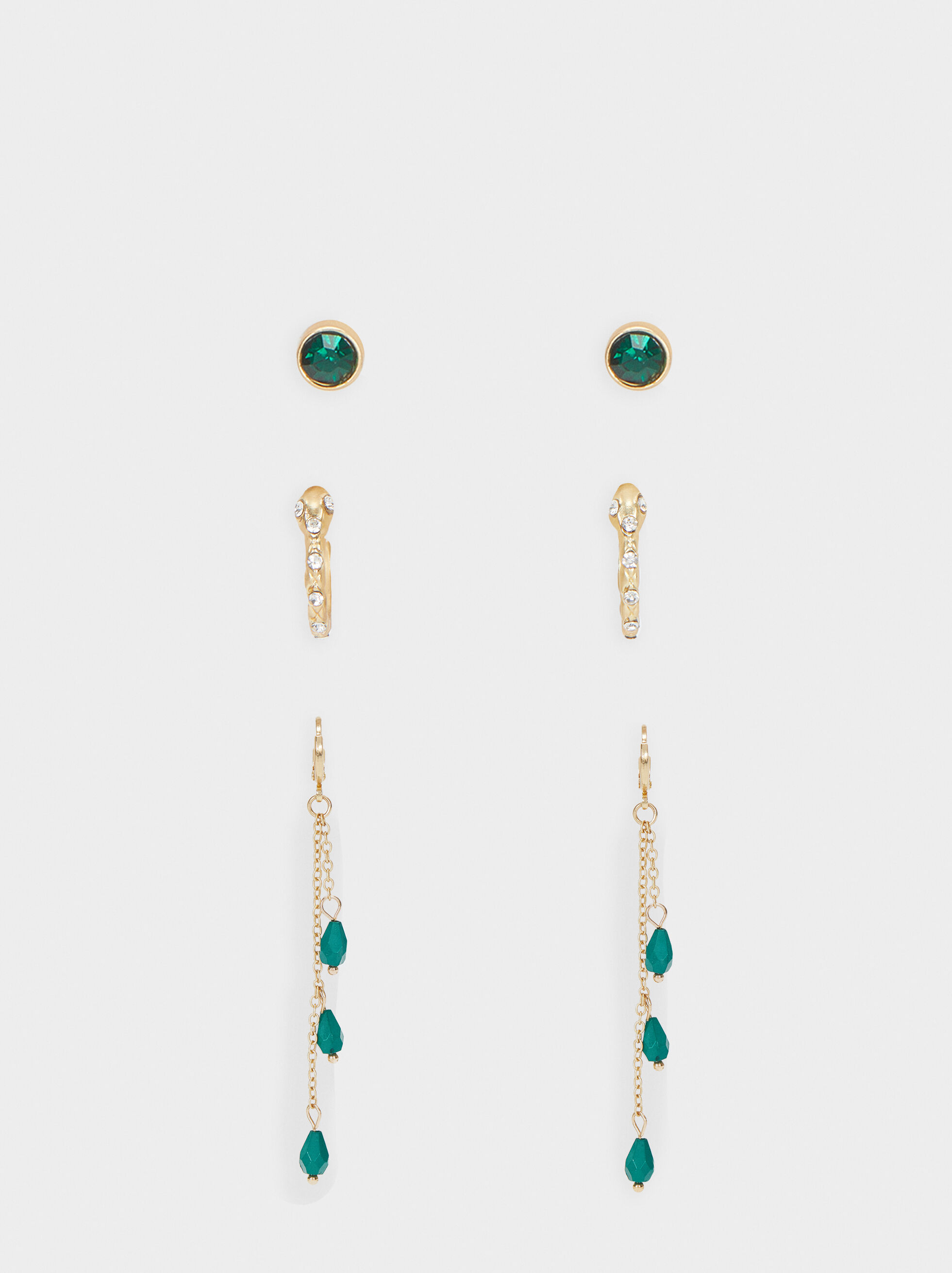 Gold Hoop Earring Set, Multicolor, hi-res