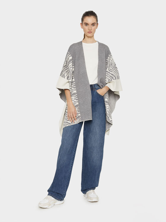 Animal Print Wool Poncho, Grey, hi-res