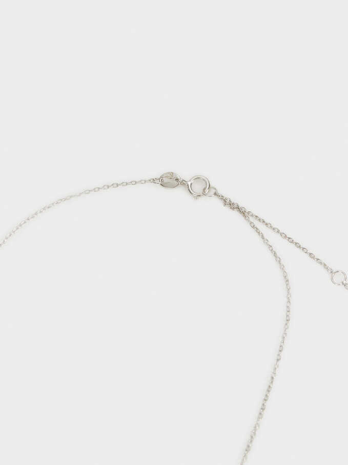 Short 925 Silver Necklace With Moon Pendants, Silver, hi-res