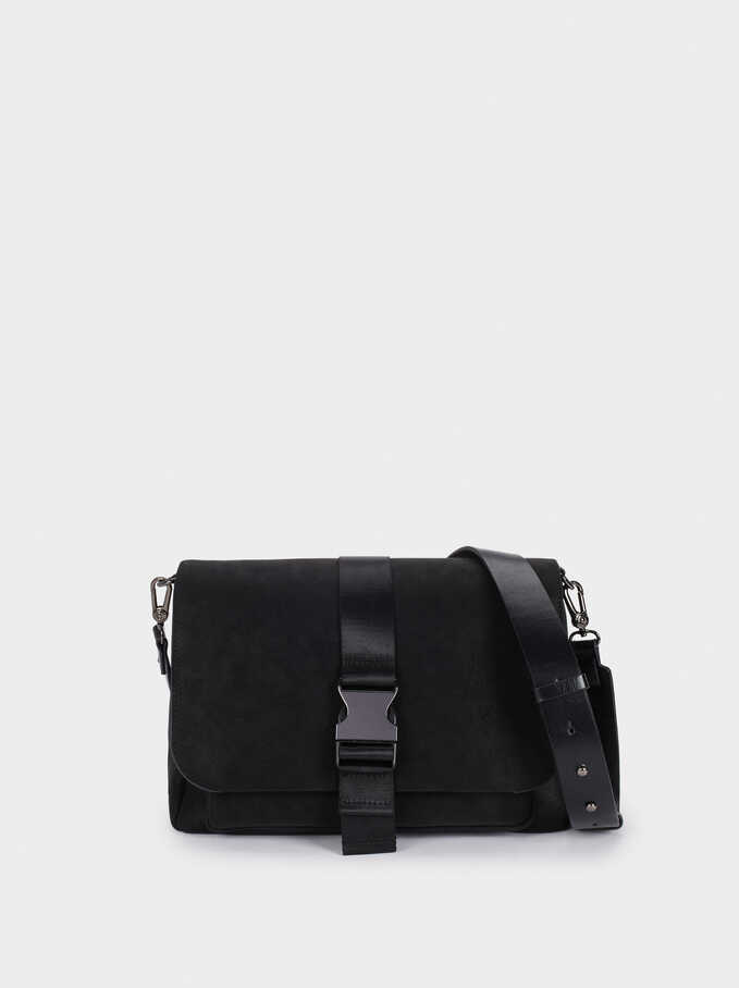 Crossbody Bag With Detachable Strap, Black, hi-res