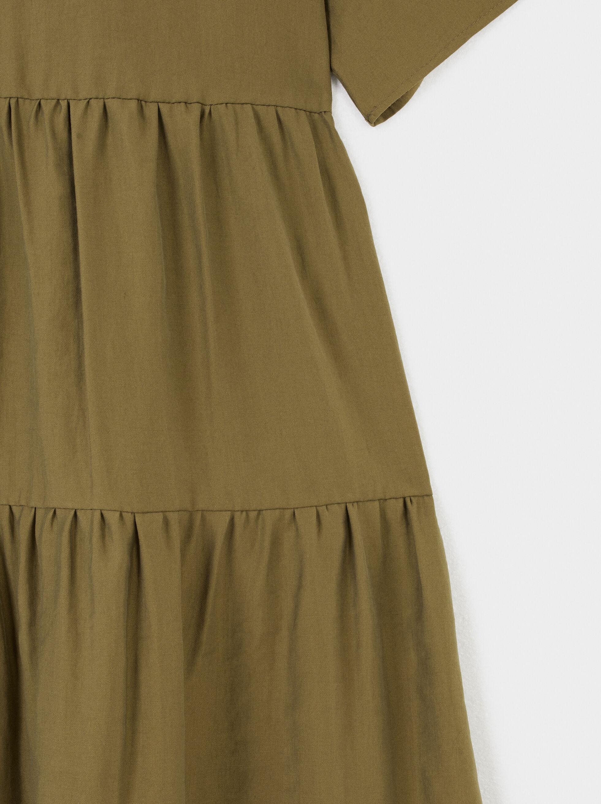 Vestido Escote Pico, Caqui, hi-res