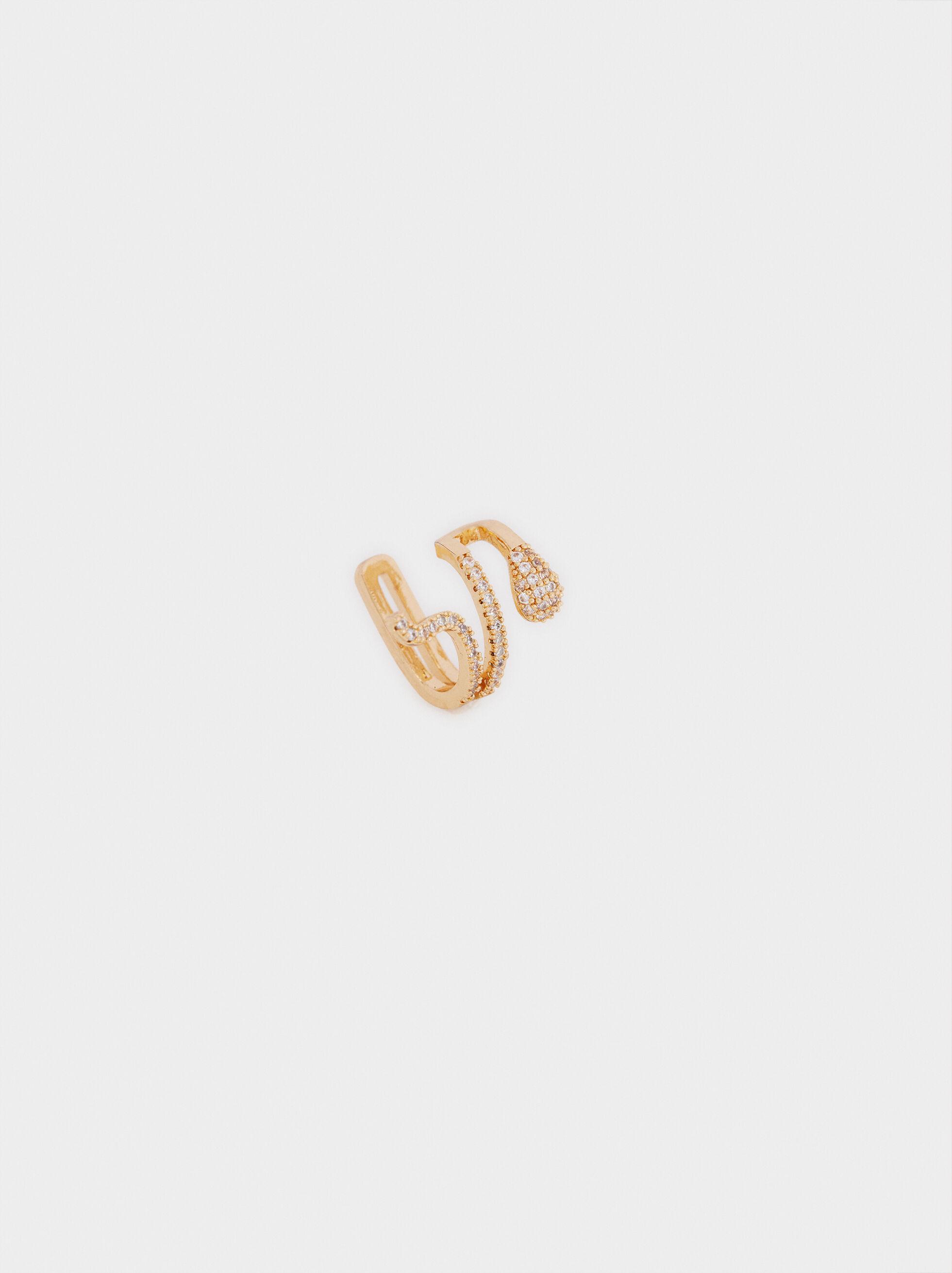 Brinco Earcuff Curto Cobra Dourado, Dourado, hi-res