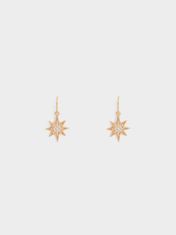 Medium 925 Silver Star Earrings, Golden, hi-res