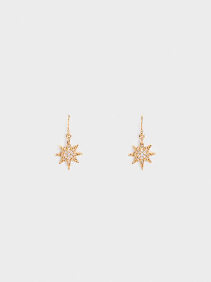 Medium 925 Silver Star Earrings, Golden, hi-res