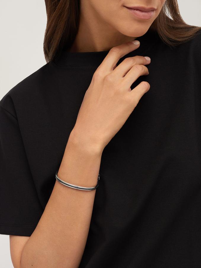 Two-Tone Adjustable Bracelet, Multicolor, hi-res