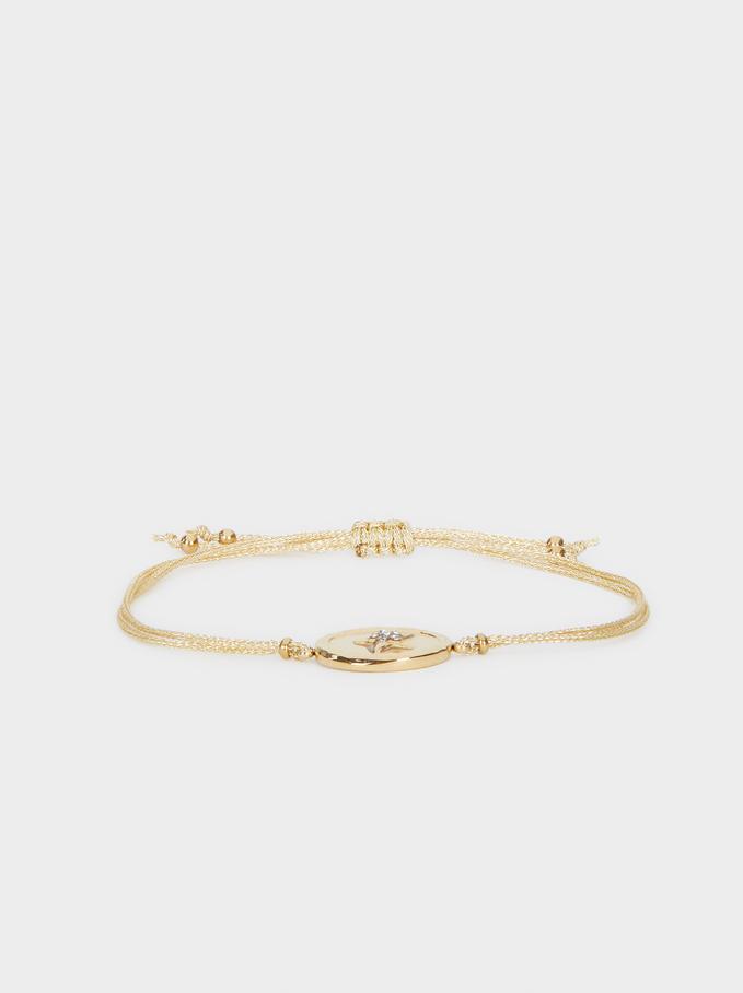 Bracelet Ajustable Acier, Doré, hi-res