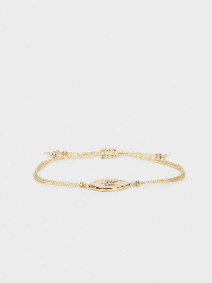 Steel Adjustable Bracelet, Golden, hi-res