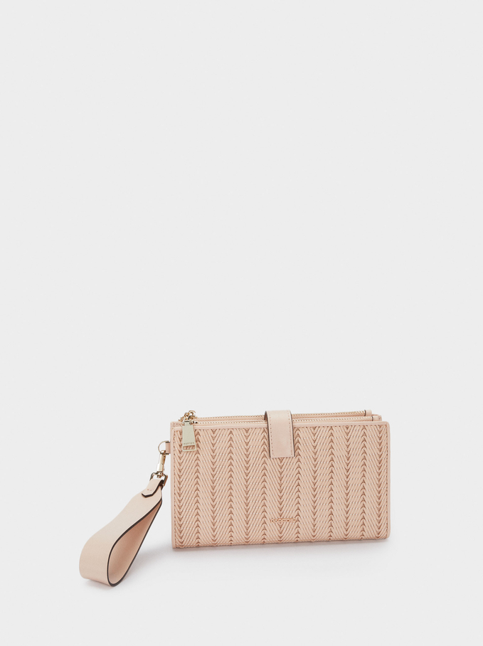 Long Purse With Embroidery, Pink, hi-res