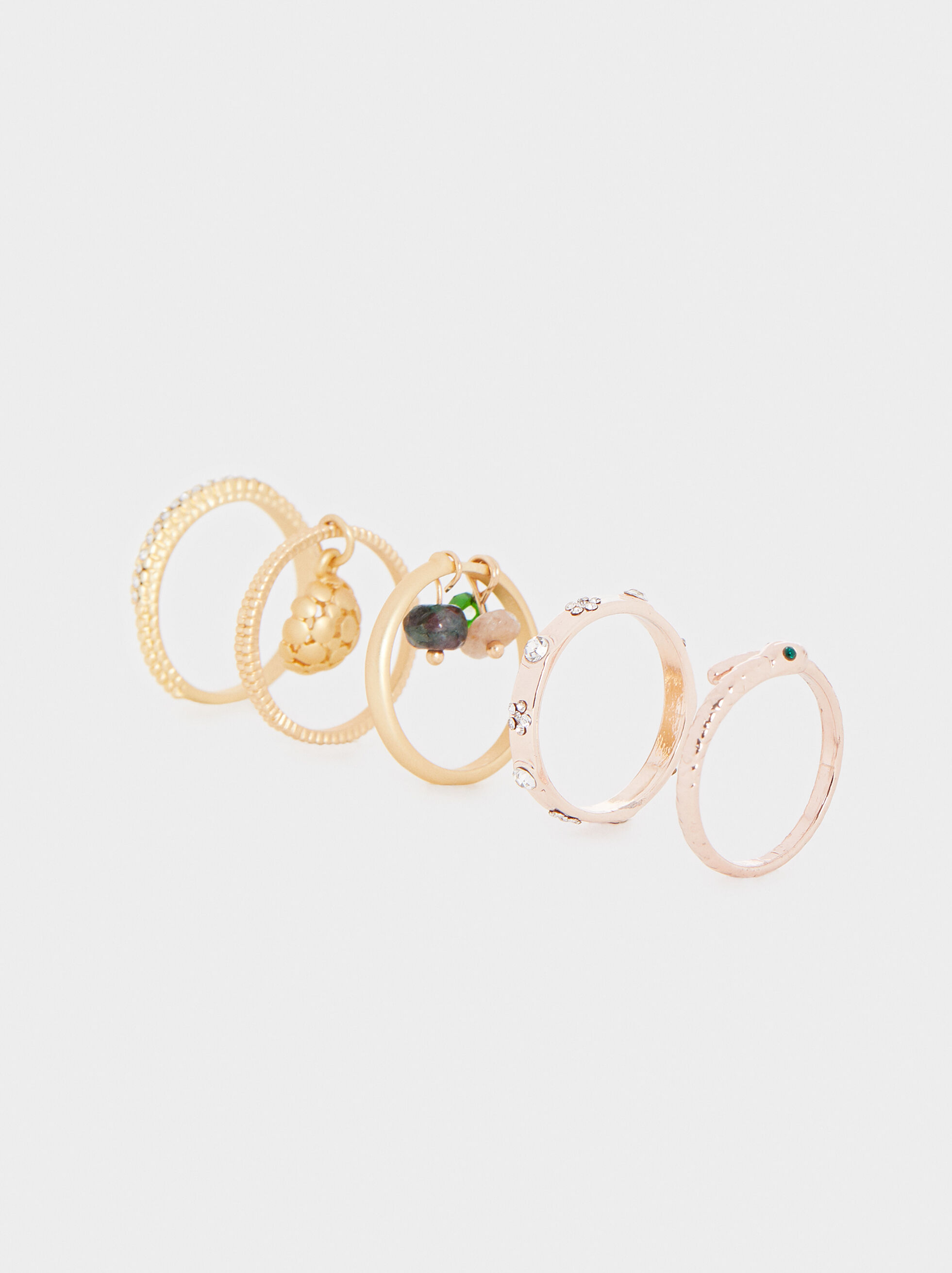 Set Of Rings With Rhinestones And Stones, , hi-res