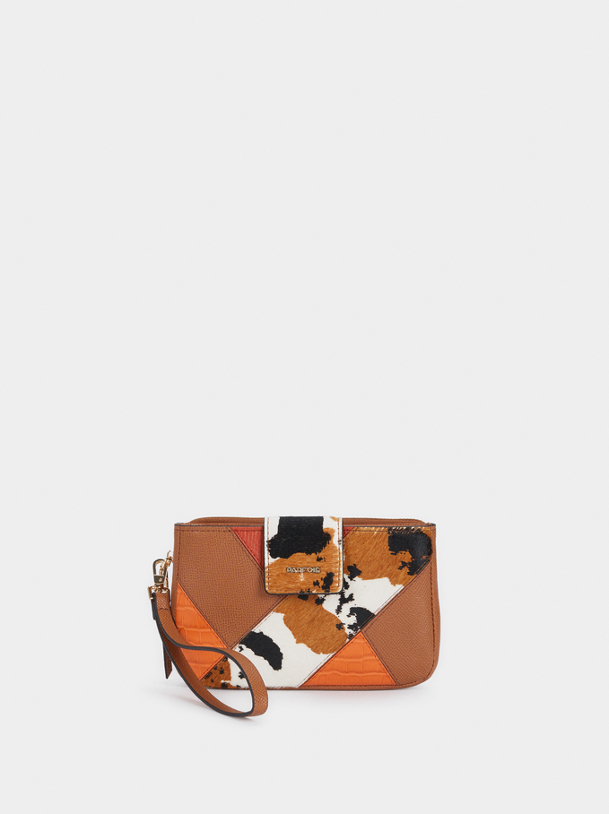 Patchwork Multi-Purpose Bag With Wrist Strap, Camel, hi-res