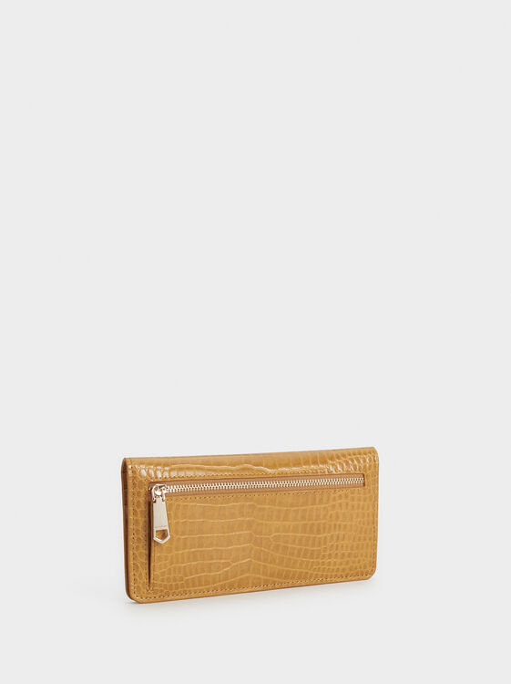 Large Embossed Animal Print Wallet, Mustard, hi-res