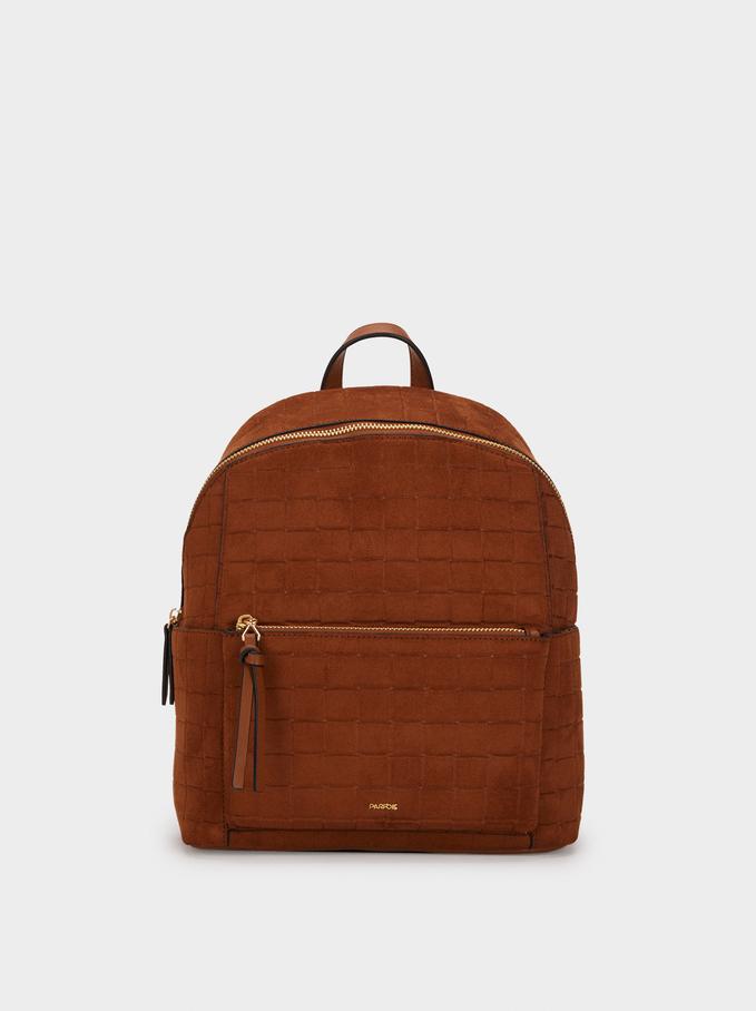 Suede Texture Backpack, Camel, hi-res