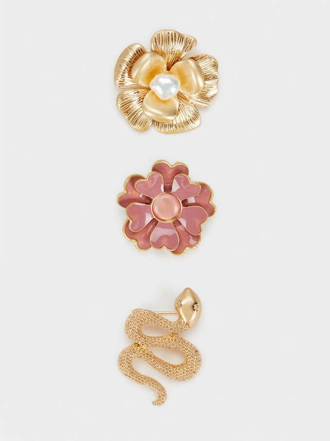Set Of Flower Brooches, Pink, hi-res