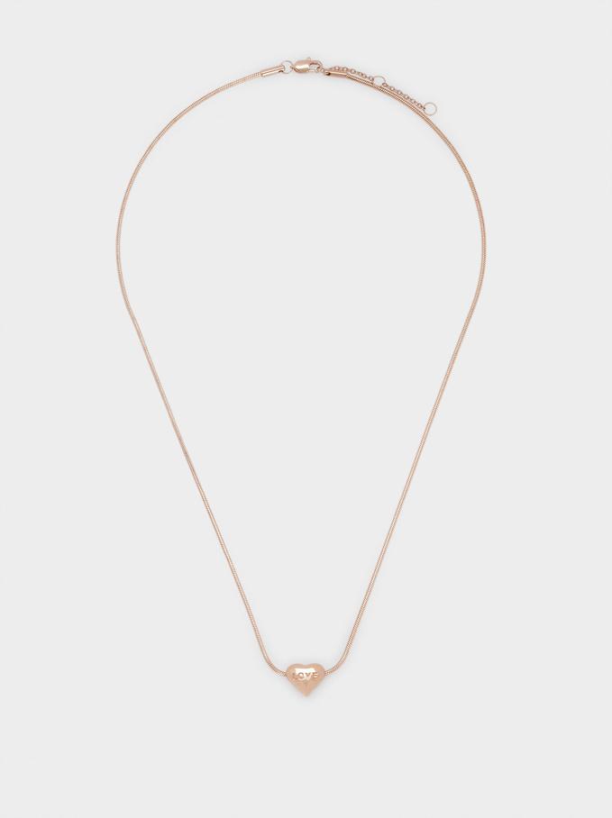 Short Steel Necklace With Heart, Orange, hi-res