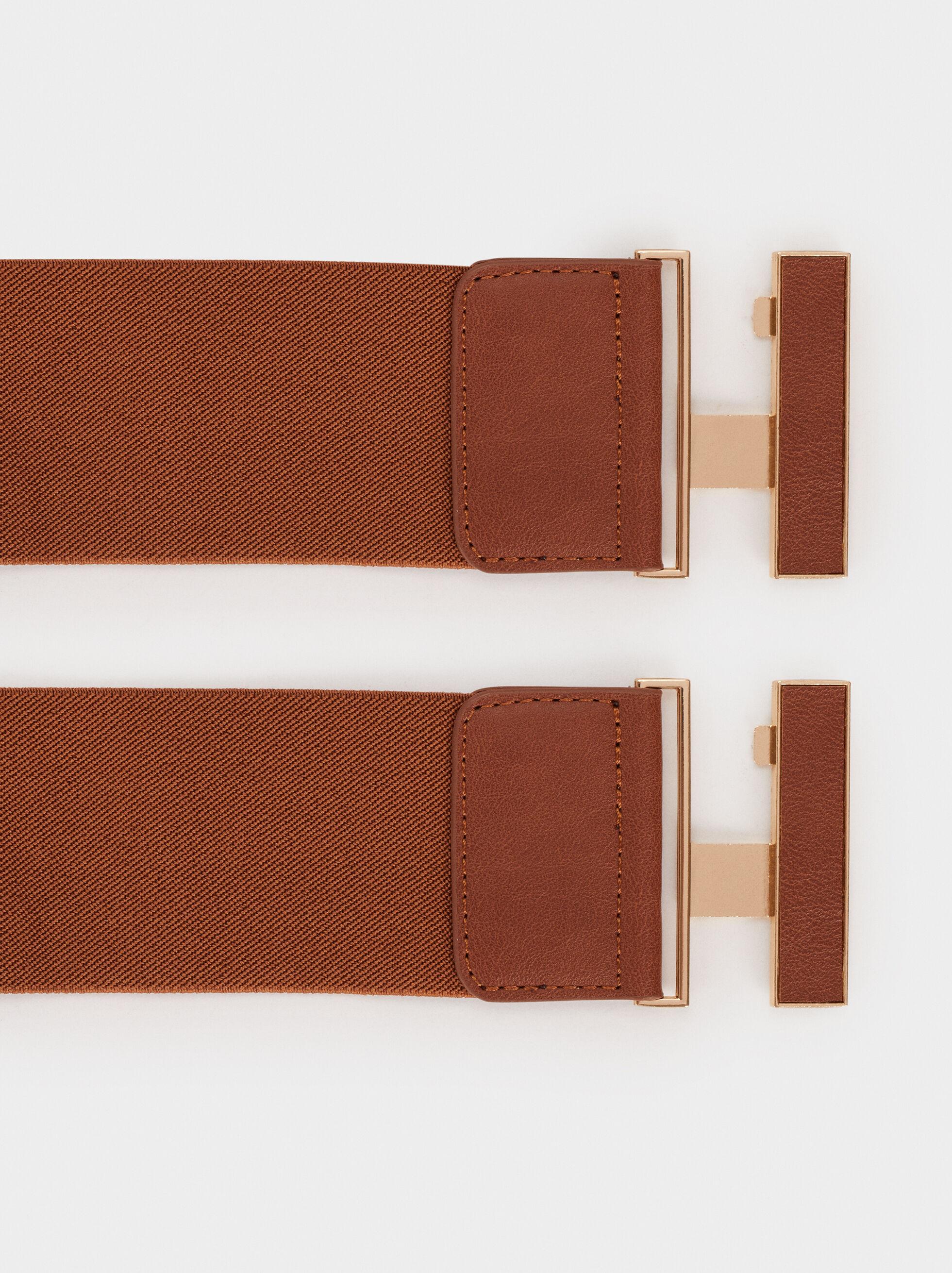 Stretch Belt, Brown, hi-res