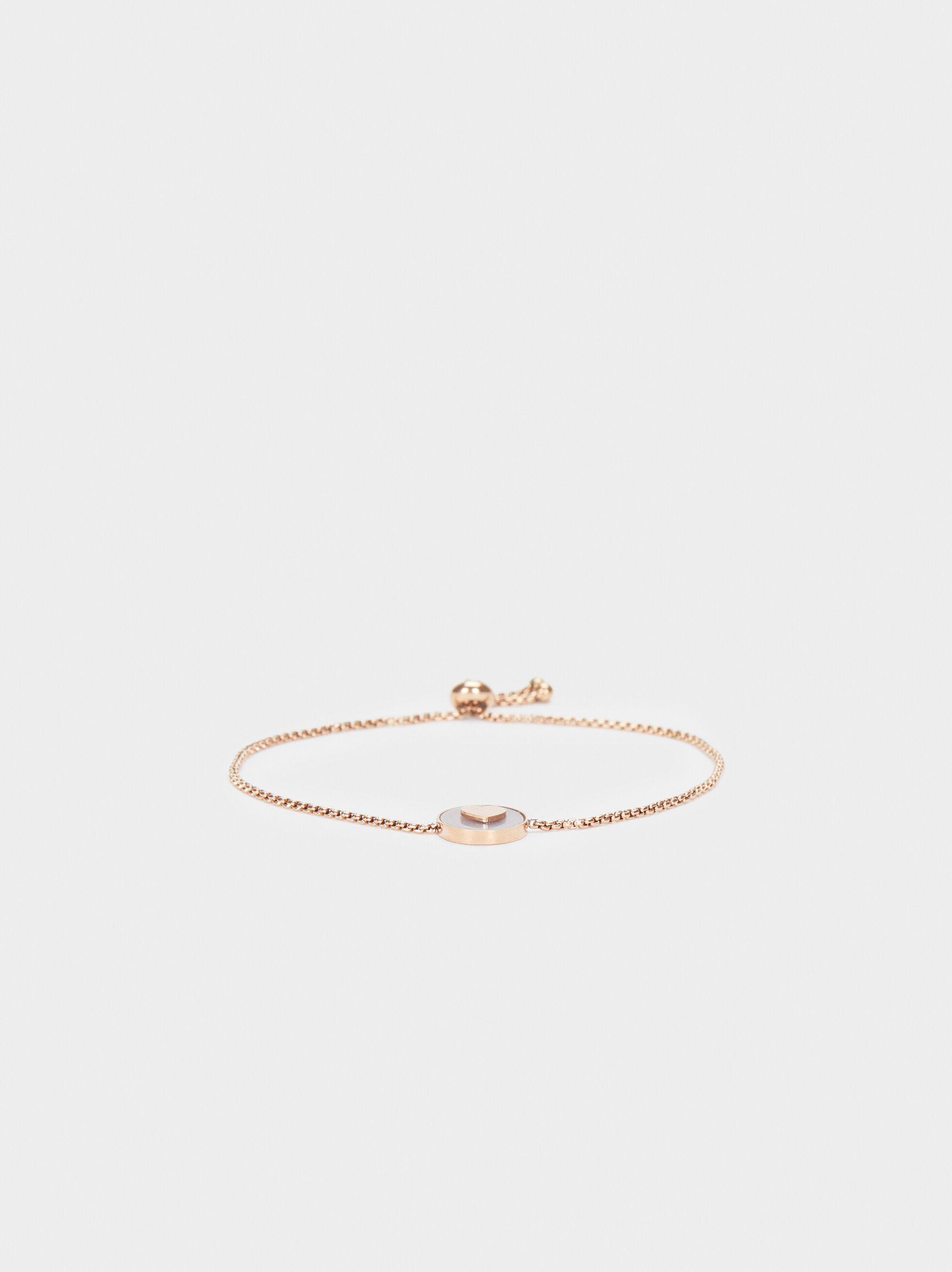 Bracelet Réglable En Acier Rose Doré Cœur, Orange, hi-res