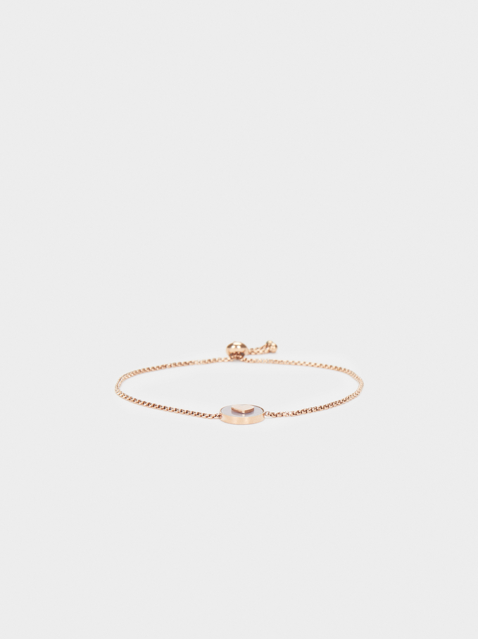 Rose Gold Stainless Steel Adjustable Bracelet With Heart Detail, Orange, hi-res