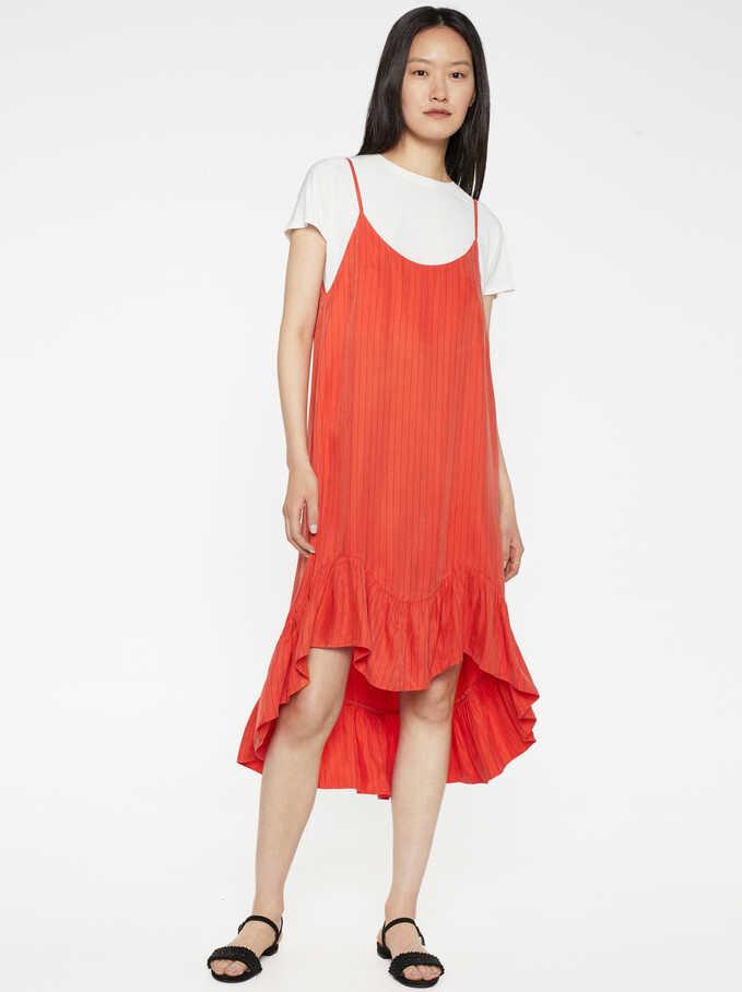 Strappy Dress With Ruffle Trim, Orange, hi-res