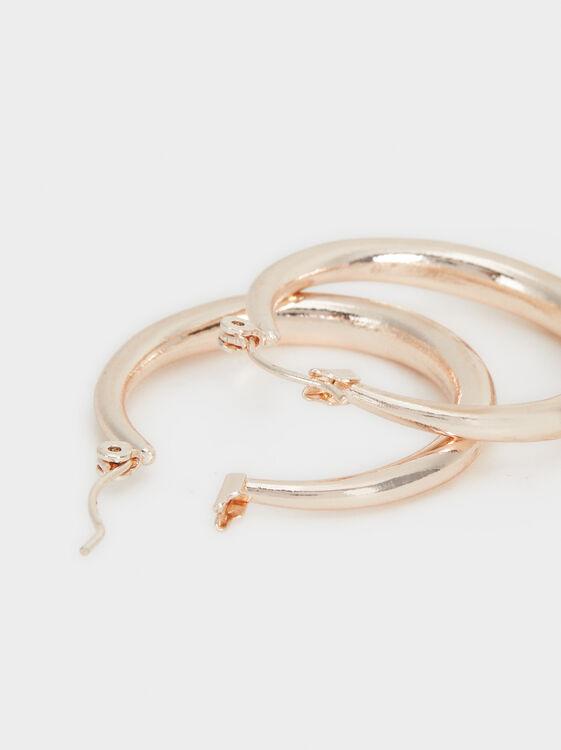 Silver Basics Hoop-Earrings, Orange, hi-res