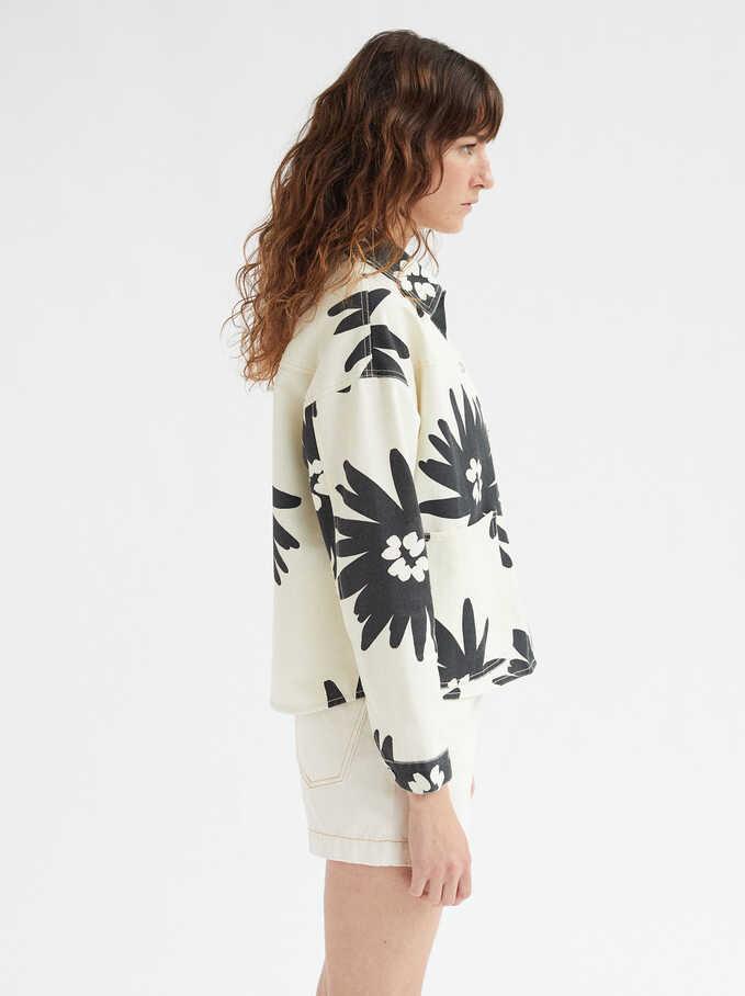 Floral Print Oversize Shirt, Ecru, hi-res