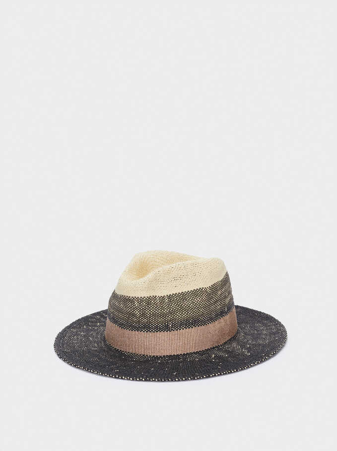 Textured Straw Hat With Contrast Band, Black, hi-res