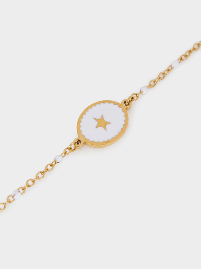 Pulsera De Acero Abalorios Con Estrella, Dorado, hi-res