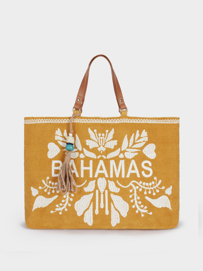 Bahamas Raffia Textured Tote Bag, Yellow, hi-res