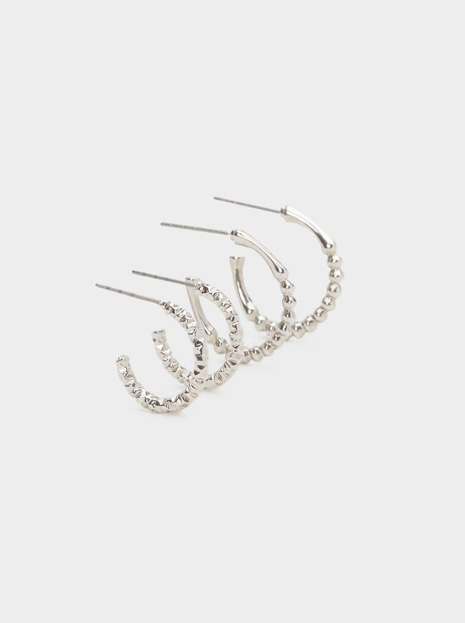 Hoop Fever Hoop Earrings Set, Silver, hi-res