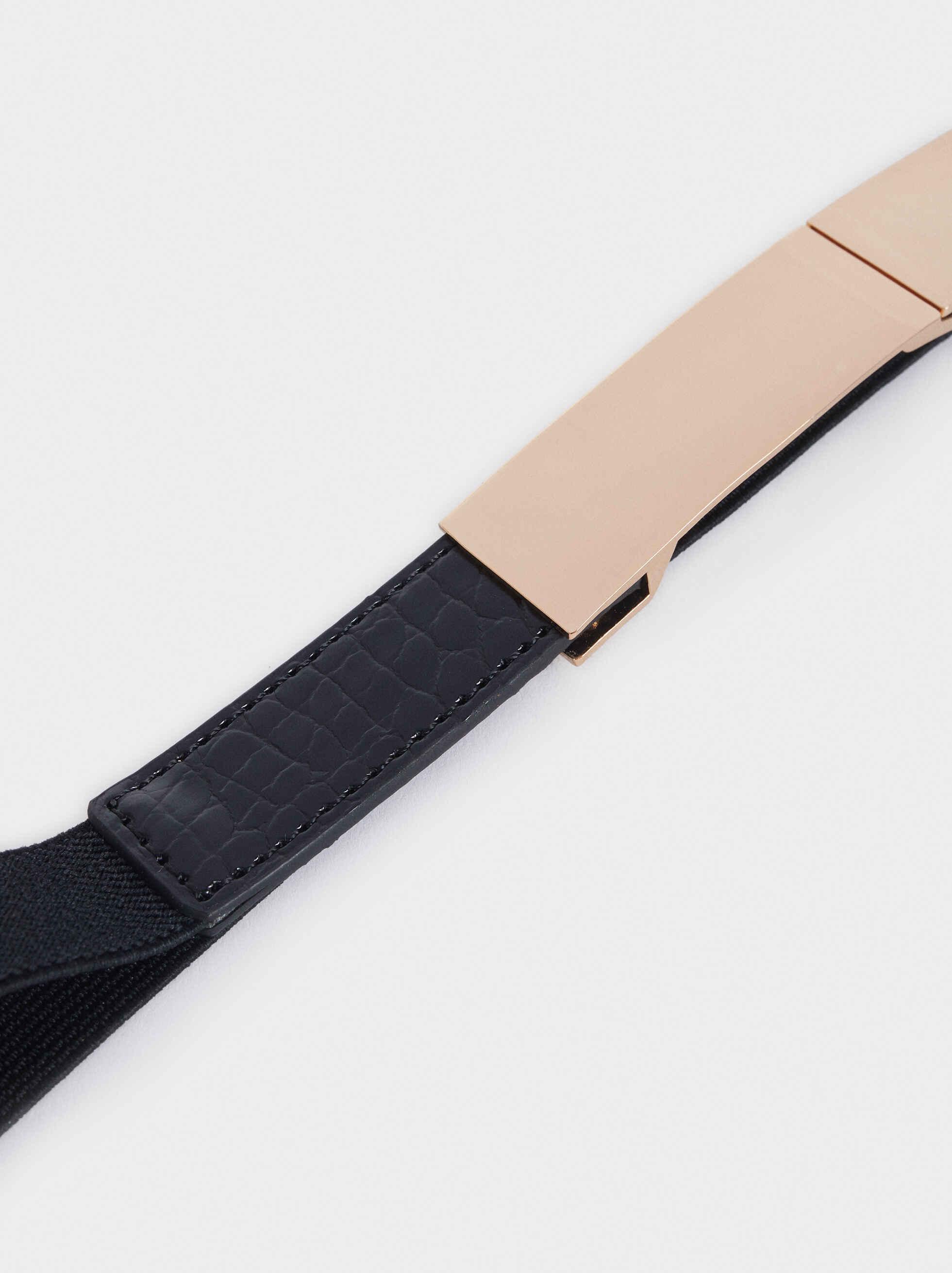 Cinturón Estrecho Detalle Metálico, Negro, hi-res