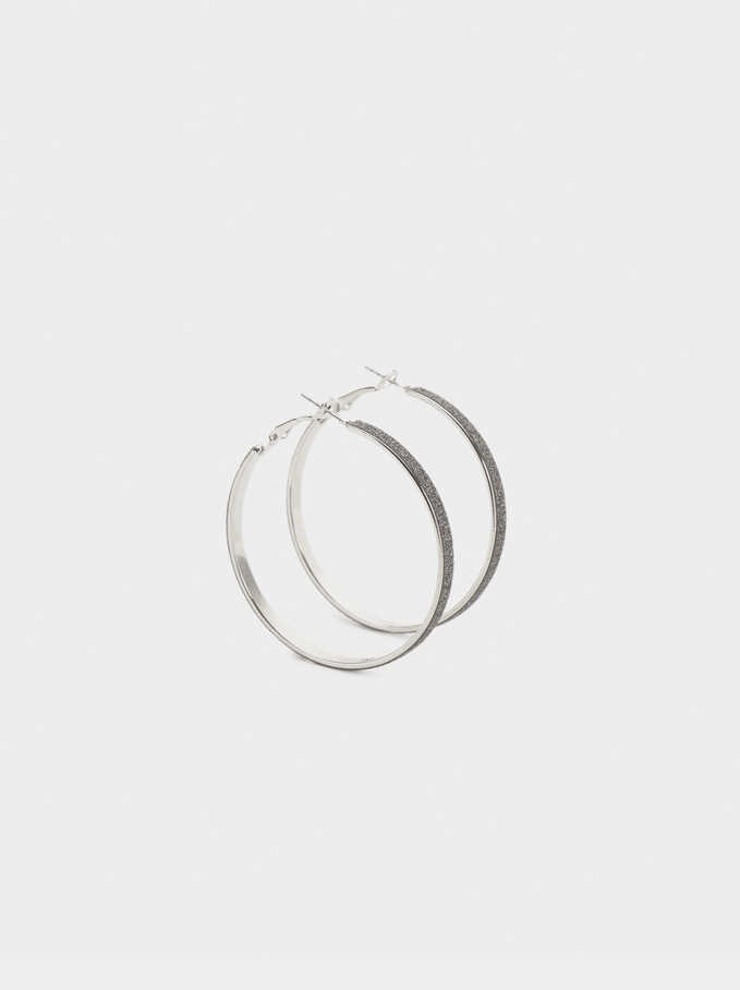 Medium Diamanté Hoops, Silver, hi-res