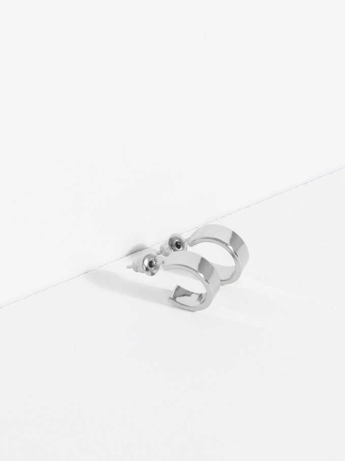 Basic Short Hoop-Earrings, Silver, hi-res