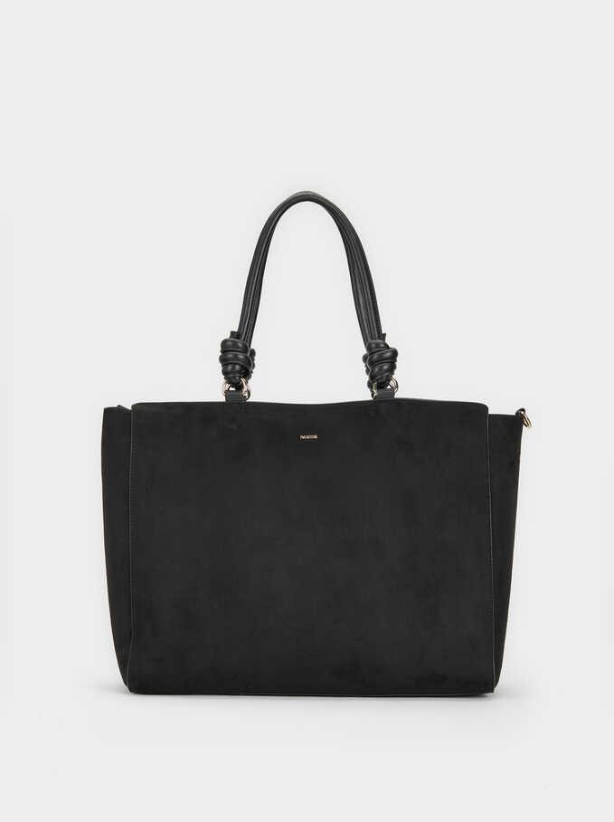 Grazel Suede Effect Shopper, Black, hi-res