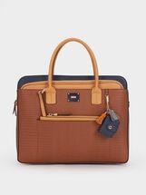 Animal Embossed Briefcase, , hi-res