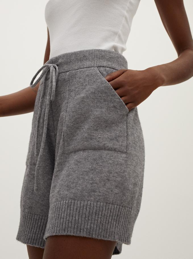 Shorts De Punto, Gris, hi-res