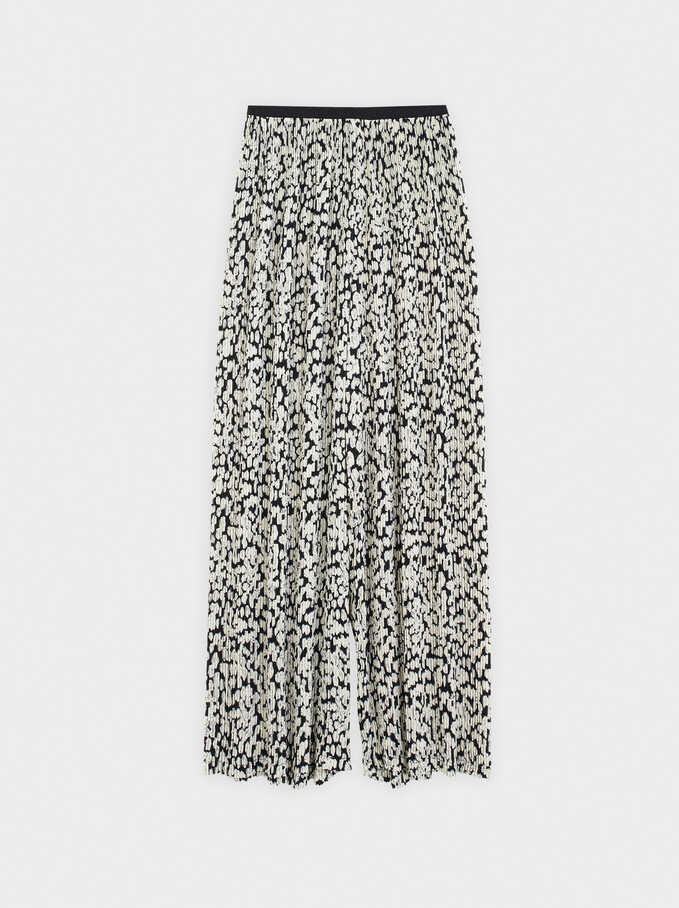 Wide-Leg Printed Trousers, White, hi-res