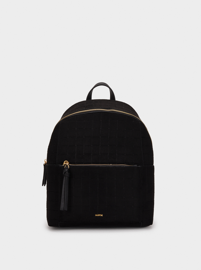 Suede Texture Backpack, Black, hi-res
