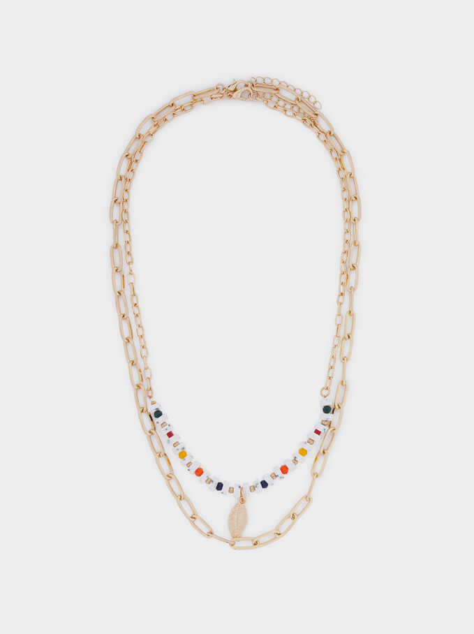 Set Of Contrasting Necklaces With Leaf Pendant, Multicolor, hi-res