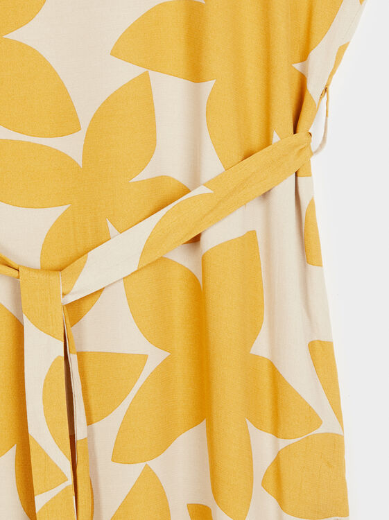 Floral Print Dress Online Exclusive, Mustard, hi-res