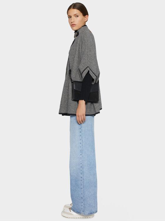 Knit Poncho, Black, hi-res