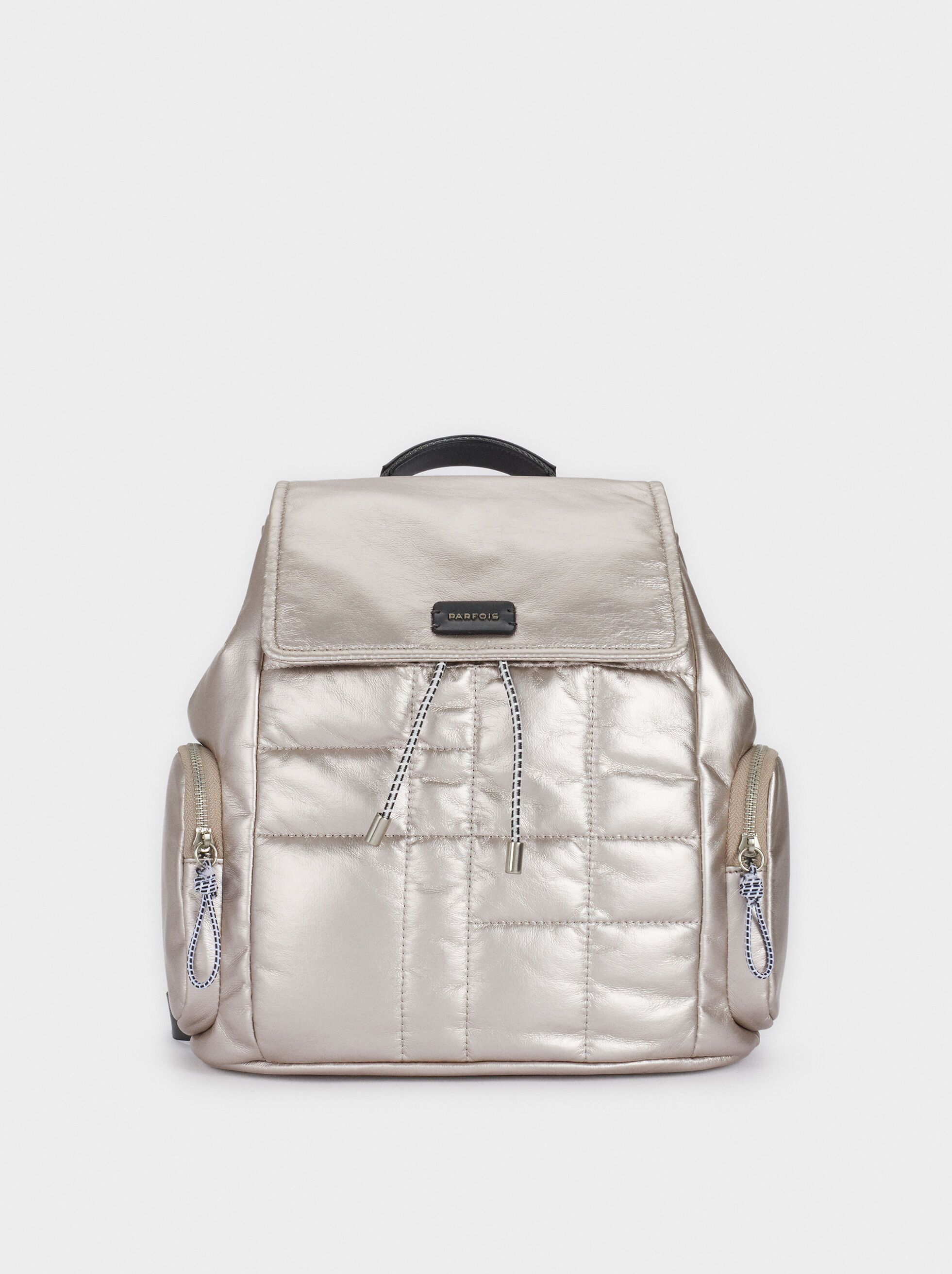 Quilted Backpack With Pockets, Pink, hi-res