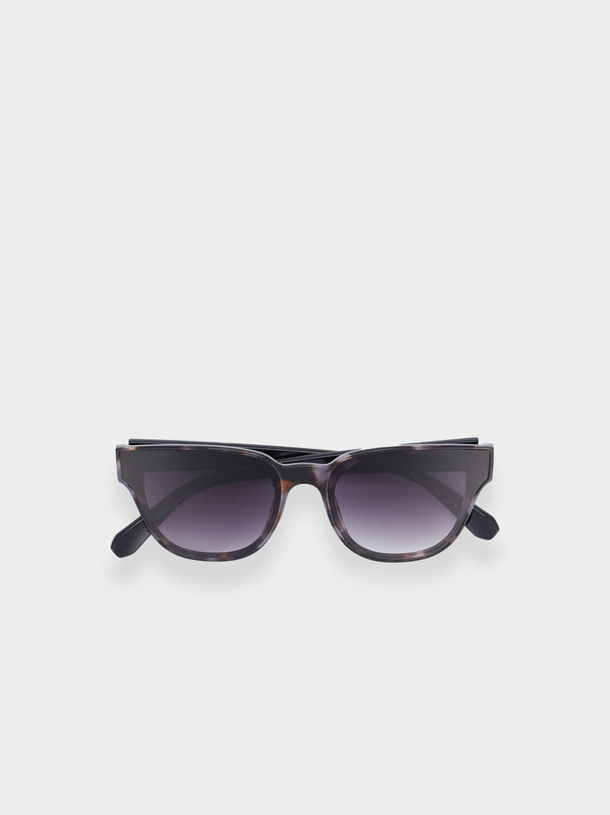 Sunglasses With Resin Frame, Brown, hi-res