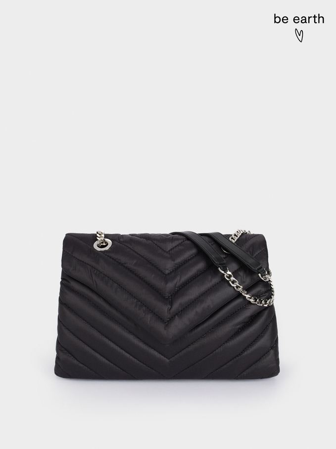 Recycled Nylon Shoulder Bag, Black, hi-res