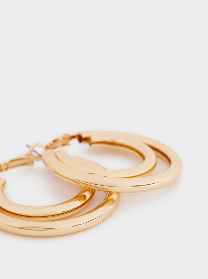 Large Gold-Toned Hoop Earrings, Golden, hi-res